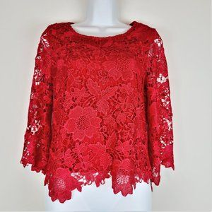 Lulu's Blouse S Red Embroidered Floral Overlay